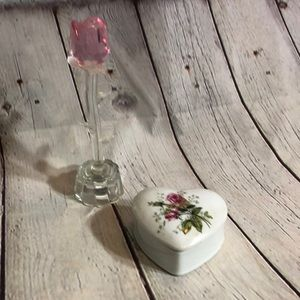 Light Up Clear Glass Rose & Roses Trinket Box
